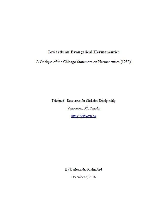 Towards An Evangelical Hermeneutic Cover